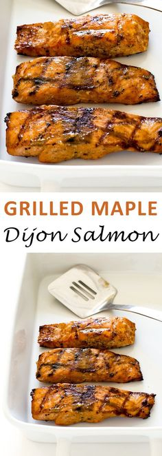 Grilled Maple Dijon Salmon. Served with an amazing sticky and sweet maple dijon sauce. Ready in less than 20 minutes!   chefsavvy.com #grilled #maple #dijon #salmon #seafood #dinner #mustard