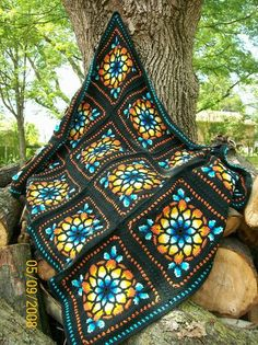 """Stained Glass"" afghan"