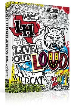 "Yearbook Cover - Lake Highlands High School - ""Live Out Loud"" Theme - Doodles, Notebook, Sketch, Zentangle, Ink, Doodle"
