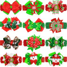 2016 Christmas baby Girls ribbon bow headbands with clip Hair Accessories Baby Hair Band Baby flower Headband 24pcs