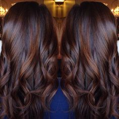 Long Curled Chocolate Brown Hair with Cinnamon Highlights