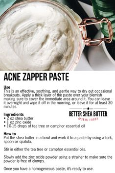 """My go-to method of getting rid of pimples or a breakout. I apply it overnight and it works like magic"" Homemade Body Butter, Homemade Skin Care, Homemade Beauty Products, Diy Skin Care, Natural Products, Beauty Care, Diy Beauty, Beauty Tips, Beauty Secrets"