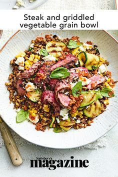 This healthy steak recipe is high in protein and low in calories, with grains and griddled vegetables providing extra fibre and nutrients. Plus it tastes delicious - the perfect midweek meal! Get the Sainsbury's magazine recipe Midweek Meals, Quick Easy Meals, Healthy Steak Recipes, Magazine Recipe, Hearty Beef Stew, Warm Salad, Beef Ribs, Tasty Dishes, Meal Planning