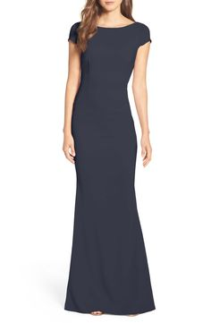 Plunge Knot Back Gown | Navy blue gown with short sleeves by Katie May