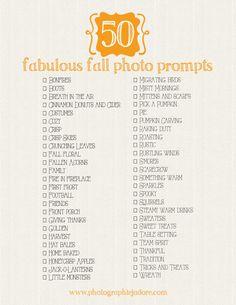 Fabulous Fall Photo Prompts | A Printable List