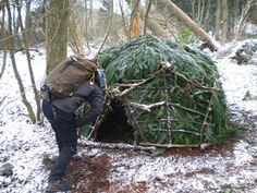 I've built winter shelters just like this one - amazing how warm and dry you can…
