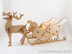 Rudolph & Santa's Sleigh Kit. Laser cut 3D wooden model. Assemble in minutes and decorate however you like.