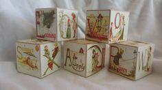 Vintage Alphabet Book 5 Wood ABC Blocks Pretty Nursery Room Decor Baby Shower Party Toddler Toys Custom Name Letters Shabby Chic Photo Prop. $22.50, via Etsy.