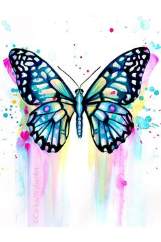 Butterfly Artwork, Butterfly Painting, Butterfly Watercolor, Butterfly Wallpaper, Colorful Butterfly Drawing, Monarch Butterfly, Blue Butterfly, Illustration Art Dessin, Watercolor Illustration