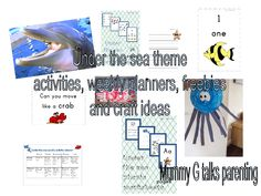 Under the sea themed topic.- freebies, activity planners, crafts.