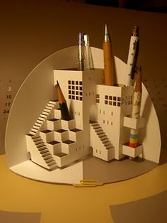 Gorgeous architecture origami pencil holder desk organiser - with studio cut file - then just fold into place! Def going to do this! Arte Pop Up, Pop Up Art, Origami And Kirigami, Origami Paper, Diy Origami, Origami Pencil Holder, Pencil Holders, Architecture Origami, 3d Templates