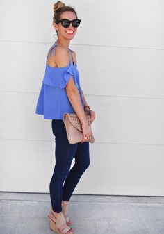 Off the Shoulder Periwinkle   LivvyLand Austin Fashion & Style Blog by Olivia Watson