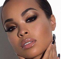 Orange Eyeshadow | Eye Makeup Ideas | Everyday Makeup Look For Dark Skin Tone by Makeup Tutorials at http://makeuptutorials.com/8-eyeshadow-ideas-black-women-eye-makeup-ideas/