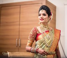 South Indian Bridal Blouse Designs Embroidery India Ideas For 2019 Wedding Saree Blouse Designs, Pattu Saree Blouse Designs, Blouse Designs Silk, Saree Blouse Patterns, Saree Wedding, Salwar Designs, Wedding Blouses, Telugu Wedding, Bridal Sarees