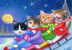 How To Draw Kawaii Cute Animals And Characters over Cute Animals Sleeping Pictures our Cute Chibi Animals Wallpaper yet Cats Kittens For Adoption Near Me Christmas Tree With Snow, Christmas Animals, Christmas Cats, I Love Cats, Crazy Cats, Cute Cats, Winter Cat, Winter Snow, Hello Kitty Christmas