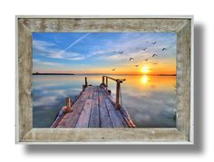 """Rustic Dock Artwork (#41C) 24 x 32 canvas print  in a 31"""" x 43"""" white washed frame (CL43W-41C)"""