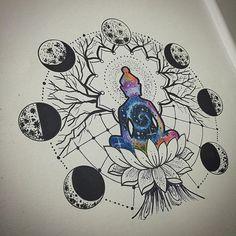 Representação de Buda , na minha maneira meditando sobre sua lotus embaixo de uma árvore alcançando  - kadutattoo