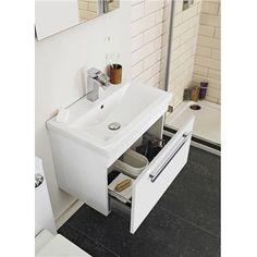 Ultra Design 1 Drawer Wall Mounted Basin & Cabinet - Gloss White - 2 Basin Options at Victorian Plumbing UK Bathroom Shop, Big Bathrooms, Family Bathroom, Amazing Bathrooms, Downstairs Bathroom, Bathroom Storage, Bathroom Design Small, Bathroom Colors, Bathroom Ideas