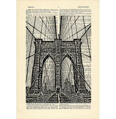Brooklyn Bridge Dictionary art vintage nyc new by DarkIslandCity, $10.00 #brooklynbridge #brooklyn #bridge