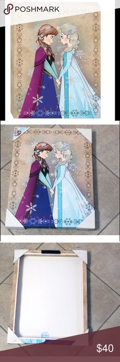 "Disney Frozen Elsa Anna Christmas Decoration  Art Eisney FROZEN ELSA & ANNA DISNEY DESIGNER FASHION SKETCH ART STYLE GLITTER ART wall art CANVAS Art FRAME PRODUCT DETAILS Add a cute And fashion disney Christmas for home room decoration glitter touch to your bedroom with this Disney's FROZEN Glitter canvas wall art. © Disney  PRODUCT FEATURES Box frame rests on nail, making hanging simple PRODUCT DETAILS ·                     measures 14""x18""  Canvas, wood Vertical display Box frame Glitter…"
