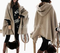 Hooded knit sweater wool cape coat autumn / winter coat oversize cape knit outerwear in beige(157) on Etsy, £40.10