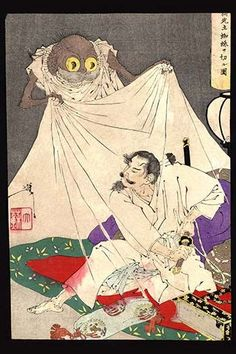 "Ukiyo-e print illustration showing a man with a sword about to fend off an attacking ""earth spider."" Tsuchigumo"