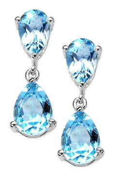 Sterling Silver Double Pear Blue Topaz Drop Earrings by Olivia Leone on @HauteLook