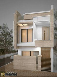 Bipin p Naliapera Narrow House Designs, Modern Exterior House Designs, Modern House Design, House Outside Design, House Front Design, Small House Design, House Layout Plans, House Layouts, Contemporary House Plans