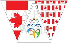 Canada Olympic Team Party, printable decor for Rio Olympics. Banner for 2016 Summer Olympics Canada. Team Canada.