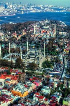 An amazing view of Hagia Sofia the Blue Mosque and the Bosphorus Straits in Istanbul. Here you relax with these backyard landscaping ideas and landscape design. Wonderful Places, Great Places, Beautiful Places, Ankara, Places Around The World, Around The Worlds, Turkish Architecture, Mosque Architecture, Places To Travel