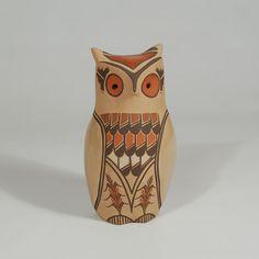 "#adobegallery - Jemez Pueblo Polychrome Pottery Owl Figurine. Persingula M. Gachupin (1910-1994)      Category: Figurines     Origin: Jemez Pueblo     Medium: clay, pigments     Size: 6-3/4"" height     Item # 25824"