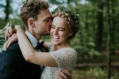 Love this bride's beautiful wreath and braided crown | Photo by Camilla Jørvad Photography