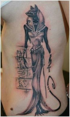 Egyptian tattoo Egyptian Cat Tattoos, Egyptian Goddess Tattoo, Egyptian Mythology, Bast Goddess, Side Tattoos, New Tattoos, Cool Tattoos, Tatoos, Bast Tattoo