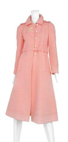 Courreges Pink Wool Coat image 2