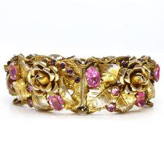 Czech Floral Pink Paste Leaf Gold Tone Bracelet