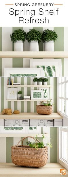 Properly styled shelves can make a big impact on any room. To create this spring-inspired look, we combined  fresh greenery and framed foliage prints with natural fiber baskets and subtly stacked books. When set against a bold-patterned wallpaper, the look is fresh, clean and mighty green. Click to discover more ways to style spring greenery.
