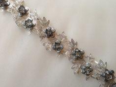 Beaded Trim 18 in Silver for Bridal Headbands by MaryNotMartha, $4.00