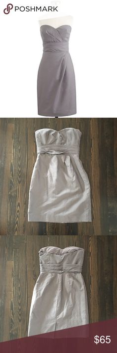 J. Crew Raquel Strapless Dress in Gray Cotton J. Crew Raquel Dress in Grey Cotton.  This Strapless dress with sweetheart neckline, origami-like folds and cummerbund style waist is perfect for wedding season!  👰🏻💍💐 Fitted bodice with boning and interior corset for added support.  Last pic shown for fit only, dress actual dress is gray.  Make me an offer 😉 J. Crew Dresses Strapless