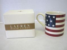 Ralph Lauren Mug Coffee Cup Hampton's Flag American 16 oz Stoneware NEW