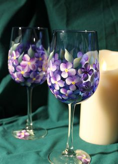 Hand Painted Wine Glasses - Violets