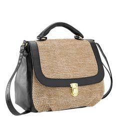 H & M Woven straw/imitation leather shoulder bag.  Black / natural.  $24.95.