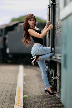 Asian babe on train