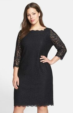 Adrianna Papell Lace Overlay Sheath Dress (Plus Size) available at #Nordstrom