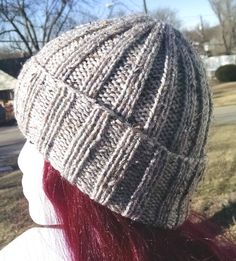 Gray Knit Hat  Unisex One-Size Warm Knit Ribbed Hat by atiltKC #hats #hepteam  www.atiltKC.etsy.com
