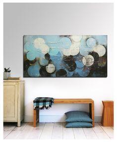 Painting, Abstract Art, Canvas Wall art, Blue and Black circles 472, Canvas, Original Art, Landscape Art, Abstract Painting Ronald Hunter