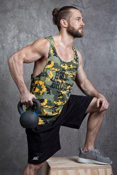 BodyCross Dean Camo Vert - Débardeur Musculation pour homme idéal pour vos séances de Musculation