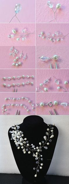 wire and beads necklace, like it? Necklace Tutorial, Diy Necklace, Pearl Necklace, Bead Jewellery, Beaded Jewelry, Handmade Necklaces, Handmade Jewelry, Jewelry Making Tutorials, Schmuck Design