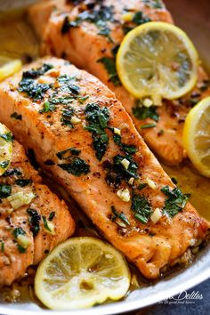 Lemon Garlic Herb Salmon is a deliciously easy salmon recipe, so simple to make, yet so delicious! Crispy on the outside, soft and tender on the inside!