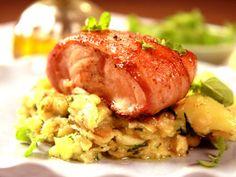 Baconlindad lax med vitlöksfräst spenat (kock Tommy Myllymäki)