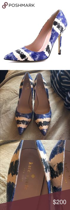 NEW Kate Spade New York Larisa Cobalt Snake Combo Brand new $350 Kate Spade Larisa Pumps. COLOR: COBALT/COMBO STRIPED SNAKE MATERIAL: LEATHER HEEL: 3.75 INCHES TOE SHAPE: POINTED TOE kate spade Shoes Heels